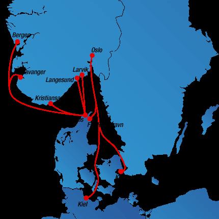 Streckenplan Fähren nach Norwegen