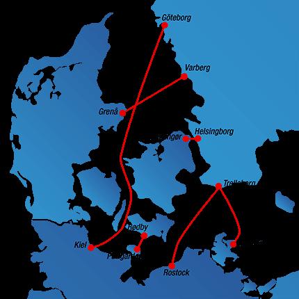 Streckenplan Fähren nach Schweden